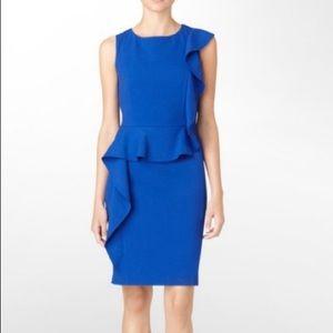 Calvin Klein royal blue a line ruffle dress 12